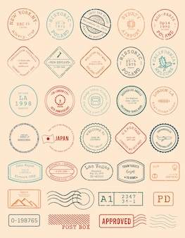 Vector of various stamp design
