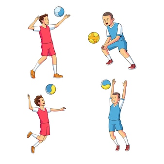 Vector of various volleyball movements