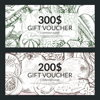 Vector vegan handdrawn fresh fruits and vegetables shopping voucher templates. gift voucher set illustration
