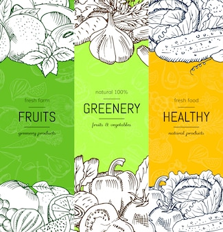 Vector vegan, healthy, organic banner set with doodle sketched fruits and vegetables.