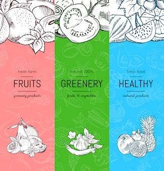 Vector vegan, healthy, organic banner set with doodle sketched fruits and vegetables