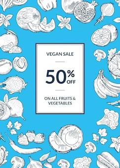 Vector vegan shop sale vertical background