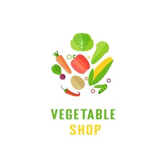 Векторные иконки шаблона дизайна овощной логотип в модном стиле абстрактная эмблема для органического магазина