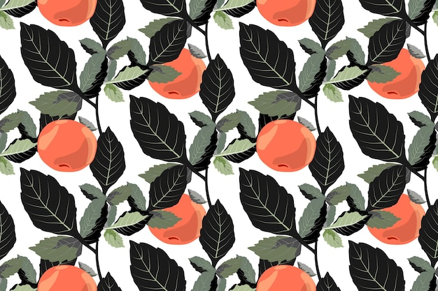 Vector vegetable seamless ornament with tangerines orange fruits with dark green leaves