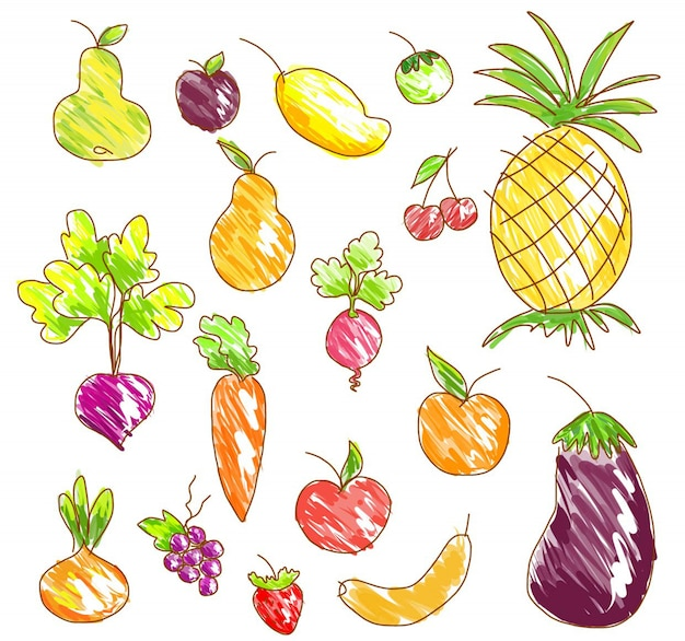 Vector vegetables and fruits.