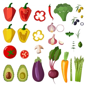 ベクトル野菜アイコンを漫画のスタイルで設定します。
