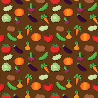 Вектор овощи шаблон овощи бесшовный фон
