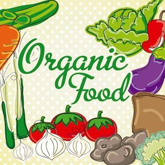 Vector vegetables on vintage background organic food