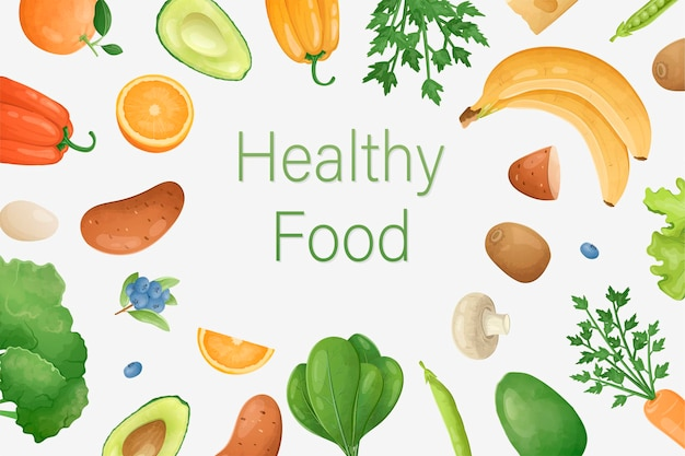 Vector veggie banner or ad template. healthy food inscription and fresh natural fruits, vegetables and herbs around. farming or gardening concept background.