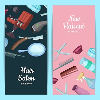 Vector vertical card or flyer illustration with hairdresser or barber cartoon elements.