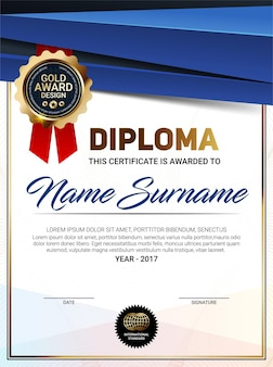 Vector vertical diploma template with luxury line pattern and gold award emblem
