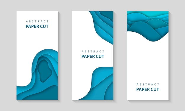 Vector vertical flyers with blue paper cut shapes