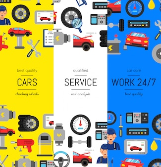 Vector vertical web poster banners illustration with flat style car service elements. page template car service