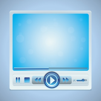 Vector video player interface with glossy buttons in blue color