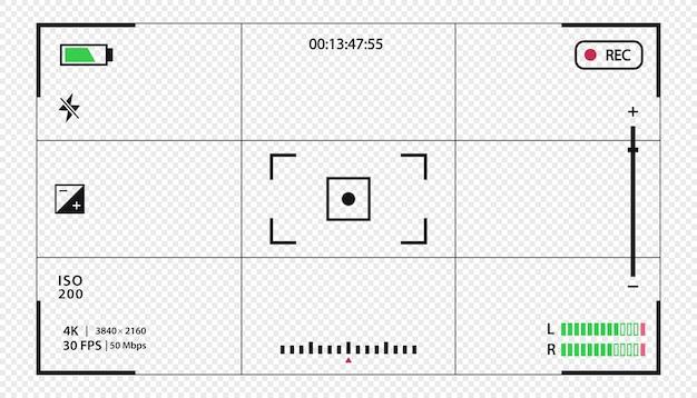 Вектор видоискатель шаблон записи кадра, изолированные на прозрачном фоне ночная камера военный