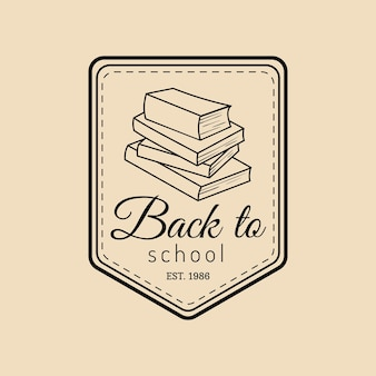 Vector vintage back to school logo. retro emblem with pupil stack of books. students education sign. knowledge day design concept.