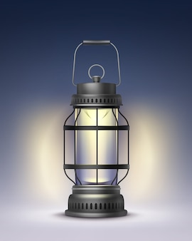 Vector vintage black metal burning lantern front view isolated on dark blue background