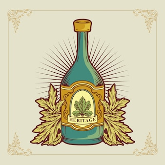 Vector vintage a bottle wine logo illustration
