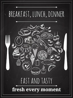 Vector vintage breakfast, lunch or dinner poster background