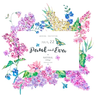 Vector vintage floral greeting card with pink lilac