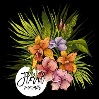 Vector vintage floral tropical greeting card