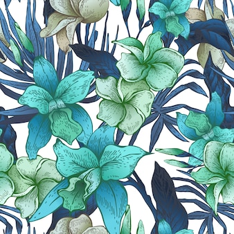 Vector vintage floral tropical seamless pattern
