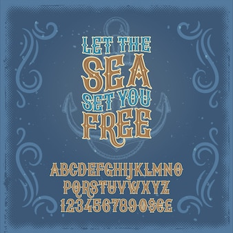 Vector vintage font, the latin alphabet and numerals in a retro frame and marine background
