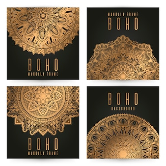 Vector vintage mandala card set