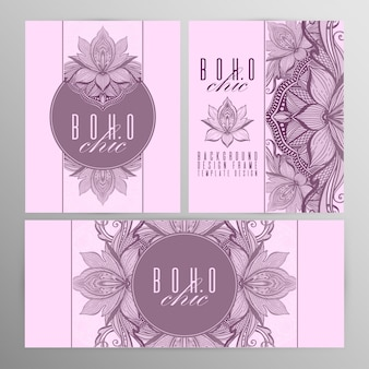 Vector vintage mandala lotus card set pink color.