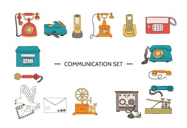 Vector vintage means of communication set.