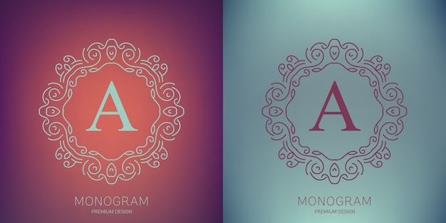 Vector vintage monogram logo set.