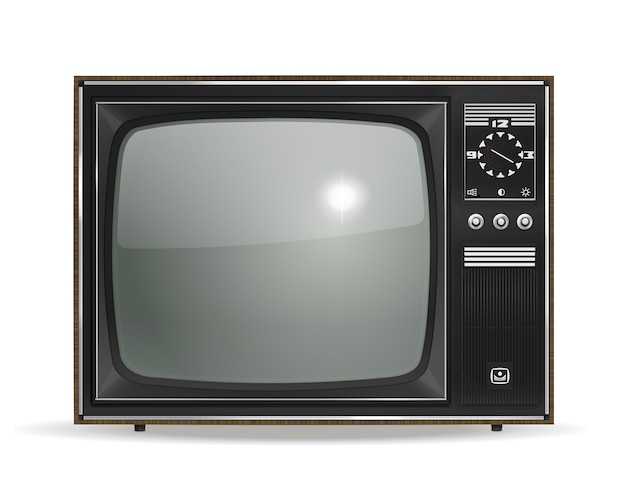 화이트에 벡터 빈티지 오래 된 사실적인 crt tv