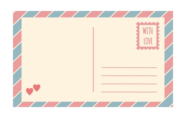 Vector vintage postcard template isolated on white background empty romantic retro post card