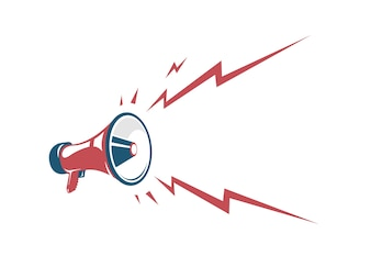 Vector vintage poster with red retro megaphone