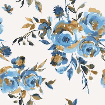 Vector vintage seamless pattern with turquoise roses, wildflowers. natural blue floral texture