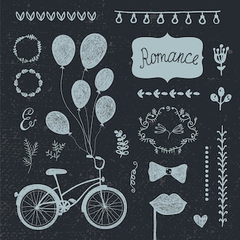 Vector vintage set of hand drawn romantic design elements, wedding invitation collection. flowers, frames, hearts