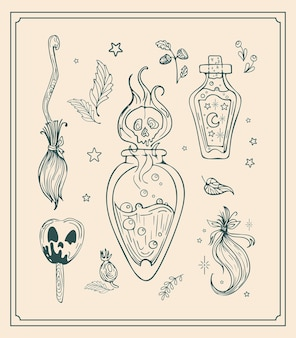 Vector vintage set illustration magic items, graphic drawing for halloween.