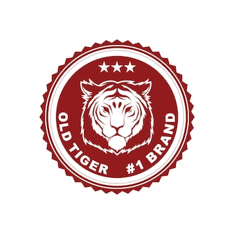 Vector vintage style badge design template with tiger