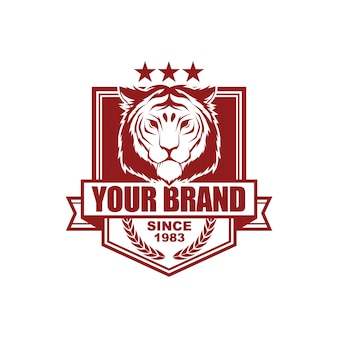 Vector vintage style logo design template with tiger