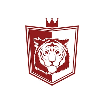 Vector vintage style shield design with tiger