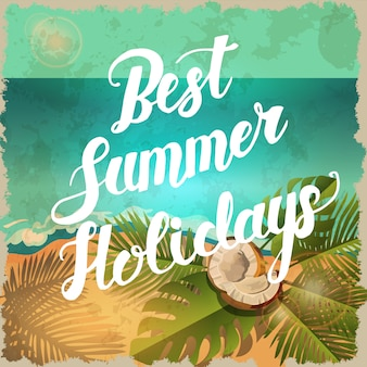 Vector vintage summer poster with beach
