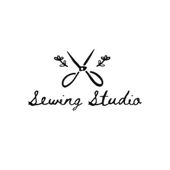 Vector vintage template for fashion designer, handmade seamstress, fabric store. silhouette symbol of tailor scissors. monochrome hand draw icon of scissors.
