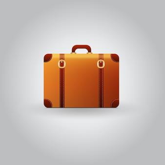 グレーの背景にあるベクトルヴィンテージ旅行スーツケース