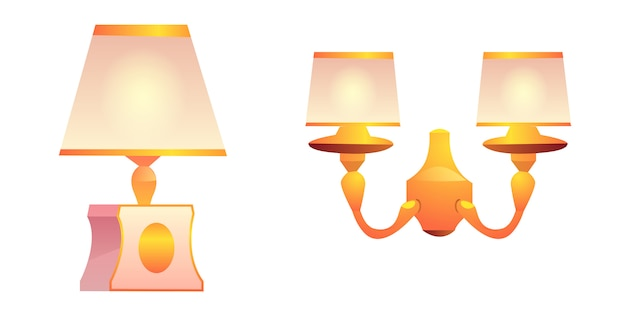 Векторные винтажные настенные и настольные лампы с абажуром