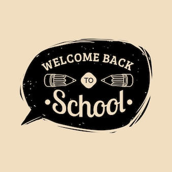 ベクトルヴィンテージようこそ学校のラベルに戻ります。子供の教育アイコン。知識の日のデザインコンセプト。