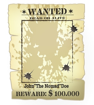 Vector vintage western wanted poster frame with bullet holes