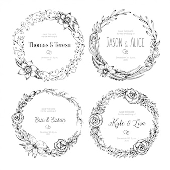 Vector vintage wreaths. collection of trendy cute floral frames.