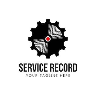 ベクトルビニールとギアのロゴの組み合わせ。記録と整備士のシンボルまたはアイコン。ユニークな音楽アルバムと産業ロゴタイプのデザインテンプレート。