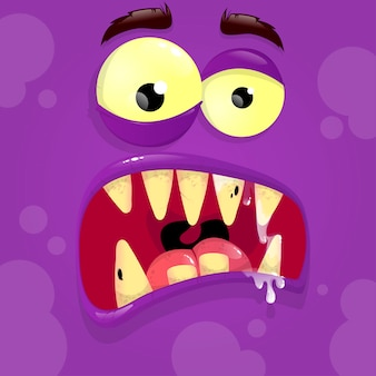 Vector violet monster avatar with unclear face