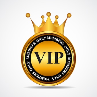Vector vip members only gold sign, label template. eps10